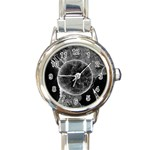 Space Universe Earth Rocket Round Italian Charm Watch
