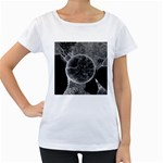 Space Universe Earth Rocket Women s Loose-Fit T-Shirt (White)