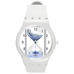 Time Water Movement Drop Of Water Round Plastic Sport Watch (m) by Celenk