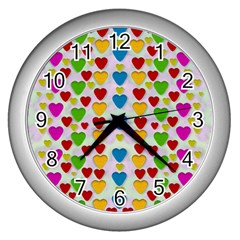 So Sweet And Hearty As Love Can Be Wall Clocks (silver)  by pepitasart