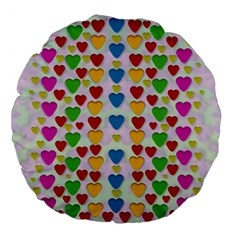 So Sweet And Hearty As Love Can Be Large 18  Premium Flano Round Cushions by pepitasart