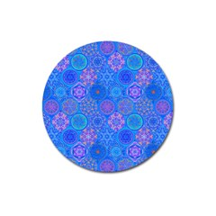 Geometric Hand Drawing Pattern Blue  Magnet 3  (round) by Cveti