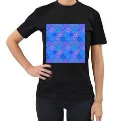 Geometric Hand Drawing Pattern Blue  Women s T Shirt (black) by Cveti