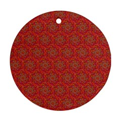 Whirligig Pattern Hand Drawing Orange 01 Round Ornament (two Sides) by Cveti