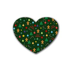 Christmas Pattern Heart Coaster (4 Pack)  by Valentinaart