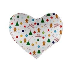 Christmas Pattern Standard 16  Premium Flano Heart Shape Cushions by Valentinaart