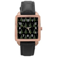 Christmas Tree   Pattern Rose Gold Leather Watch  by Valentinaart
