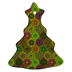 Bohemian Hand Drawing Patterns Green 01 Ornament (christmas Tree)  by Cveti