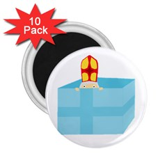 Funny Cute Kids Art St Nicholas St  Nick Sinterklaas Hiding In A Gift Box 2 25  Magnets (10 Pack)  by yoursparklingshop