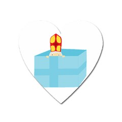Funny Cute Kids Art St Nicholas St  Nick Sinterklaas Hiding In A Gift Box Heart Magnet by yoursparklingshop