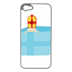 Funny Cute Kids Art St Nicholas St  Nick Sinterklaas Hiding In A Gift Box Apple Iphone 5 Case (silver) by yoursparklingshop