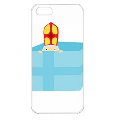 Funny Cute Kids Art St Nicholas St  Nick Sinterklaas Hiding In A Gift Box Apple Iphone 5 Seamless Case (white) by yoursparklingshop