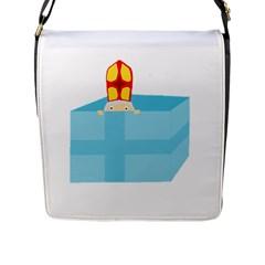 Funny Cute Kids Art St Nicholas St  Nick Sinterklaas Hiding In A Gift Box Flap Messenger Bag (l)  by yoursparklingshop