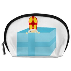 Funny Cute Kids Art St Nicholas St  Nick Sinterklaas Hiding In A Gift Box Accessory Pouches (large)  by yoursparklingshop