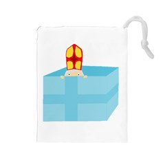 Funny Cute Kids Art St Nicholas St  Nick Sinterklaas Hiding In A Gift Box Drawstring Pouches (large)  by yoursparklingshop