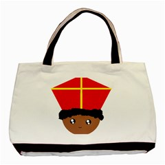 Cutieful Kids Art Funny Zwarte Piet Friend Of St  Nicholas Wearing His Miter Basic Tote Bag by yoursparklingshop