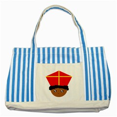 Cutieful Kids Art Funny Zwarte Piet Friend Of St  Nicholas Wearing His Miter Striped Blue Tote Bag by yoursparklingshop