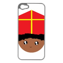 Cutieful Kids Art Funny Zwarte Piet Friend Of St  Nicholas Wearing His Miter Apple Iphone 5 Case (silver) by yoursparklingshop
