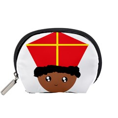 Cutieful Kids Art Funny Zwarte Piet Friend Of St  Nicholas Wearing His Miter Accessory Pouches (small)  by yoursparklingshop