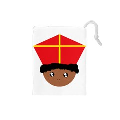 Cutieful Kids Art Funny Zwarte Piet Friend Of St  Nicholas Wearing His Miter Drawstring Pouches (small)  by yoursparklingshop