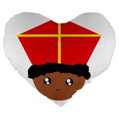 Cutieful Kids Art Funny Zwarte Piet Friend Of St  Nicholas Wearing His Miter Large 19  Premium Flano Heart Shape Cushions by yoursparklingshop