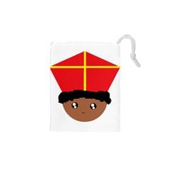 Cutieful Kids Art Funny Zwarte Piet Friend Of St  Nicholas Wearing His Miter Drawstring Pouches (xs)  by yoursparklingshop