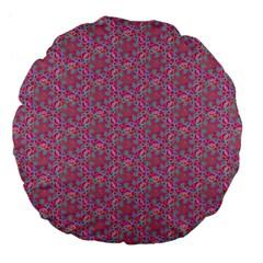 Whirligig Pattern Hand Drawing Pink 01 Large 18  Premium Flano Round Cushions by Cveti
