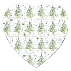 Christmas Tree   Pattern Jigsaw Puzzle (heart) by Valentinaart