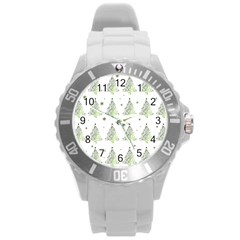 Christmas Tree   Pattern Round Plastic Sport Watch (l) by Valentinaart