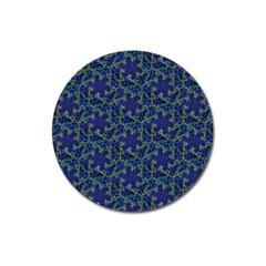 Whirligig Hand Drawing Geometric Pattern Blue Magnet 3  (round) by Cveti