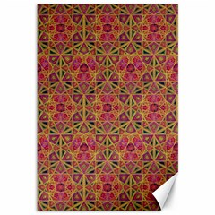 Star Tetrahedron Pattern Red Canvas 12  X 18   by Cveti