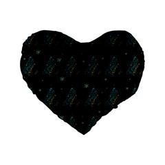Christmas Tree   Pattern Standard 16  Premium Flano Heart Shape Cushions by Valentinaart