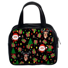 Santa And Rudolph Pattern Classic Handbags (2 Sides) by Valentinaart