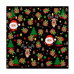 Santa And Rudolph Pattern Face Towel by Valentinaart