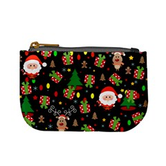 Santa And Rudolph Pattern Mini Coin Purses by Valentinaart