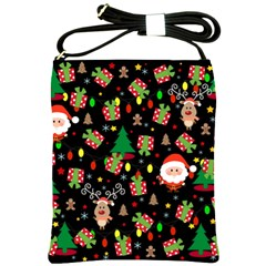 Santa And Rudolph Pattern Shoulder Sling Bags by Valentinaart