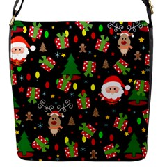 Santa And Rudolph Pattern Flap Messenger Bag (s) by Valentinaart