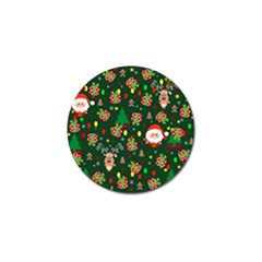 Santa And Rudolph Pattern Golf Ball Marker (4 Pack) by Valentinaart