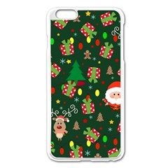 Santa And Rudolph Pattern Apple Iphone 6 Plus/6s Plus Enamel White Case by Valentinaart