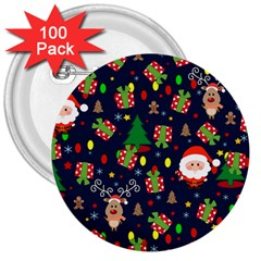 Santa And Rudolph Pattern 3  Buttons (100 Pack)  by Valentinaart