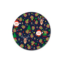 Santa And Rudolph Pattern Magnet 3  (round) by Valentinaart