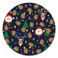 Santa And Rudolph Pattern Magnet 5  (round) by Valentinaart
