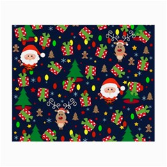 Santa And Rudolph Pattern Small Glasses Cloth by Valentinaart