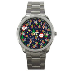 Santa And Rudolph Pattern Sport Metal Watch by Valentinaart
