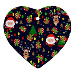 Santa And Rudolph Pattern Heart Ornament (two Sides) by Valentinaart