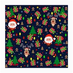 Santa And Rudolph Pattern Medium Glasses Cloth (2 Side) by Valentinaart