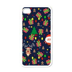Santa And Rudolph Pattern Apple Iphone 4 Case (white) by Valentinaart