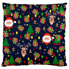 Santa And Rudolph Pattern Large Flano Cushion Case (one Side) by Valentinaart