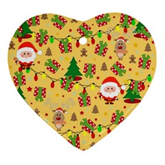 Santa And Rudolph Pattern Ornament (heart) by Valentinaart