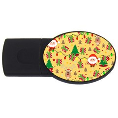 Santa And Rudolph Pattern Usb Flash Drive Oval (2 Gb) by Valentinaart